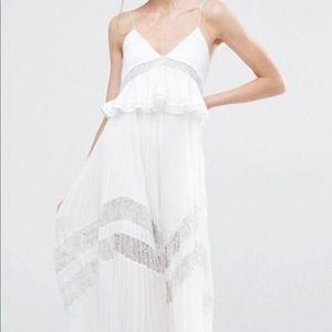 Self Portrait White Amelia pleated lace dress